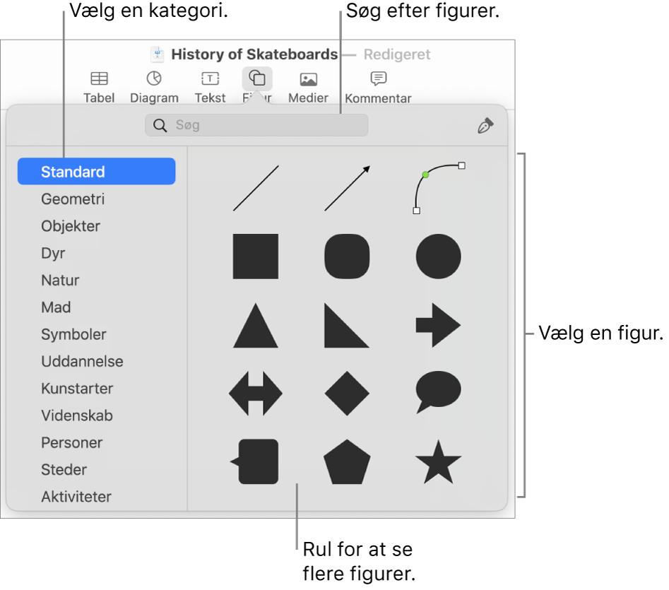 Figurbiblioteket med kategorier til venstre og figurer vist til højre. Du kan bruge søgefeltet øverst til at finde figurer og rulle for at se flere.
