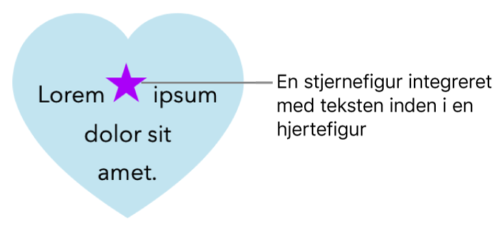 En stjerneformet figur vises integreret i teksten i en hjerteformet figur.