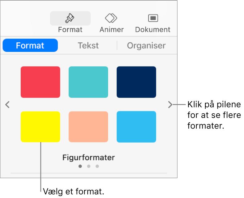 Fanen Format i indholdsoversigten Format med seks objektformater og navigationspile til venstre og højre for dem.