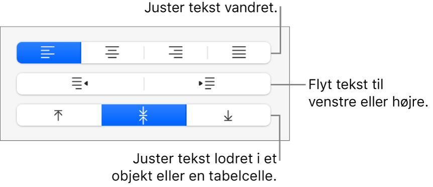 Knapper under Justering i indholdsoversigten til at justere tekst vandret, flytte tekst til venstre eller højre og justere tekst lodret.