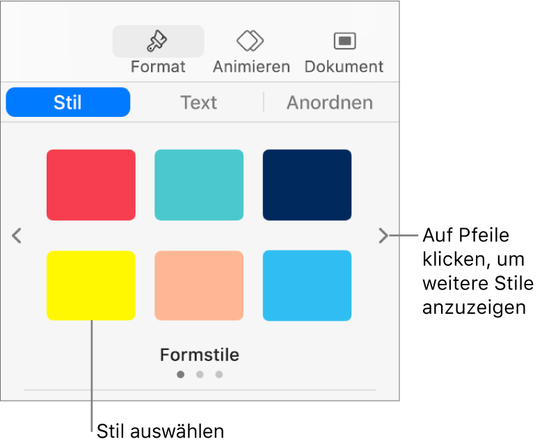 """Der Tab """"Stil"""" der Seitenleiste """"Format"""" mit sechs Objektstilen und Navigationspfeilen links und rechts daneben."""