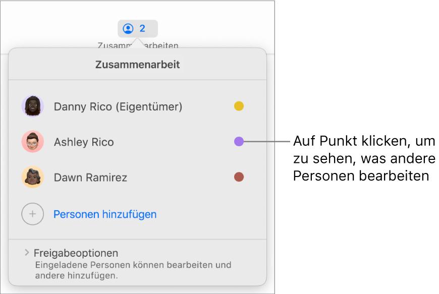 Die Teilnehmerliste mit drei Teilnehmern und einem jeweils andersfarbigen Punkt rechts neben jedem Namen.