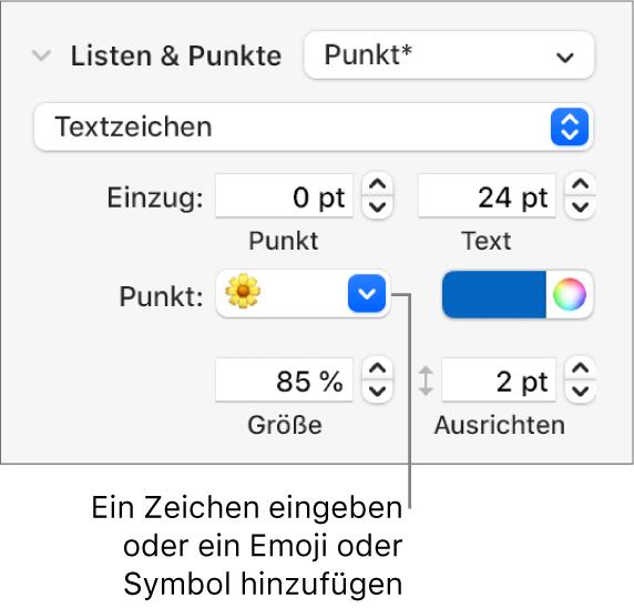 """Der Abschnitt """"Listen& Punkte"""" in der Seitenleiste """"Format"""" Das Feld """"Punkt"""" mit einem Blumen-Emoji"""