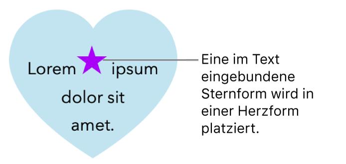 Eine Sternform im Text eingebunden in einer Herzform