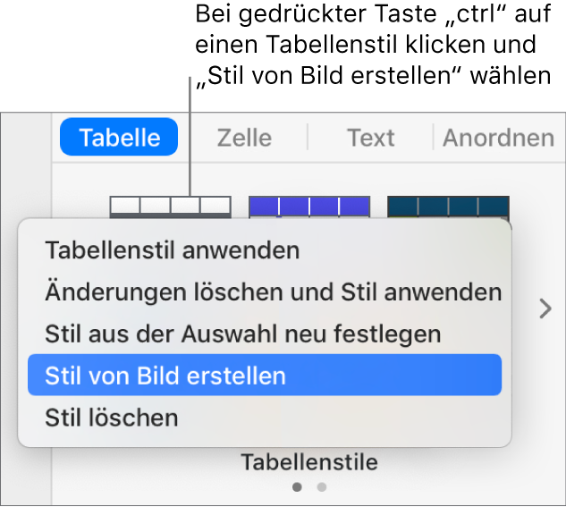 Das Kontextmenü für den Tabellenstil