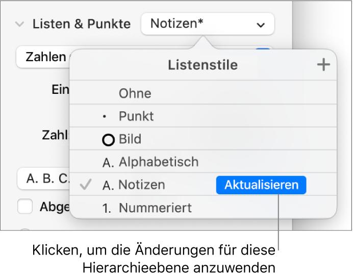 """Das Einblendmenü """"Listenstile"""" mit einer Taste """"Aktualisieren"""" neben dem Namen des neuen Stils"""