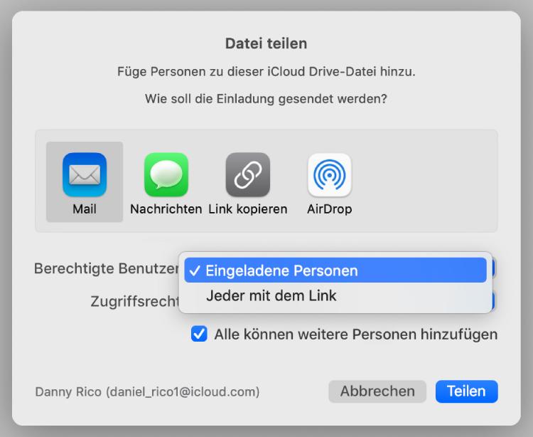 """Das Dialogfenster für die Zusammenarbeit mit dem geöffneten Einblendmenü """"Berechtigte"""" und der ausgewählten Option """"Eingeladene Personen""""."""