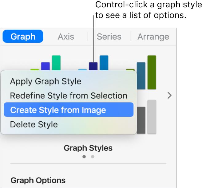 The graph style shortcut menu.