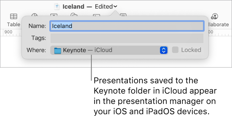 The Save dialog for a presentation with Keynote — iCloud in the Where pop-up menu.
