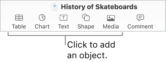 The Keynote toolbar showing buttons used to add an object to a slide.