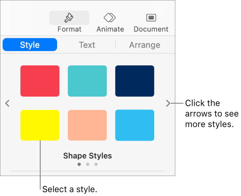 The Style tab of the Format sidebar with six object styles and navigation arrows on their left and right.