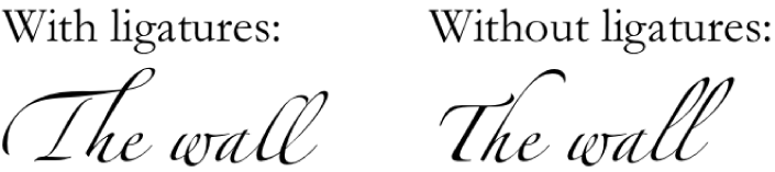 Text examples with and without ligatures.
