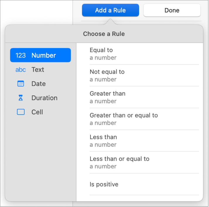 Controls for setting conditional highlighting.