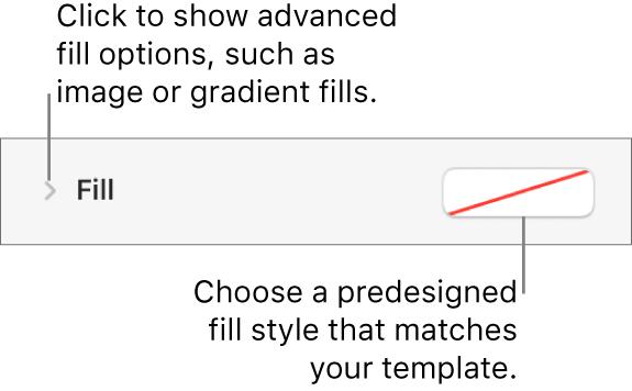 Controls for choosing a fill color.