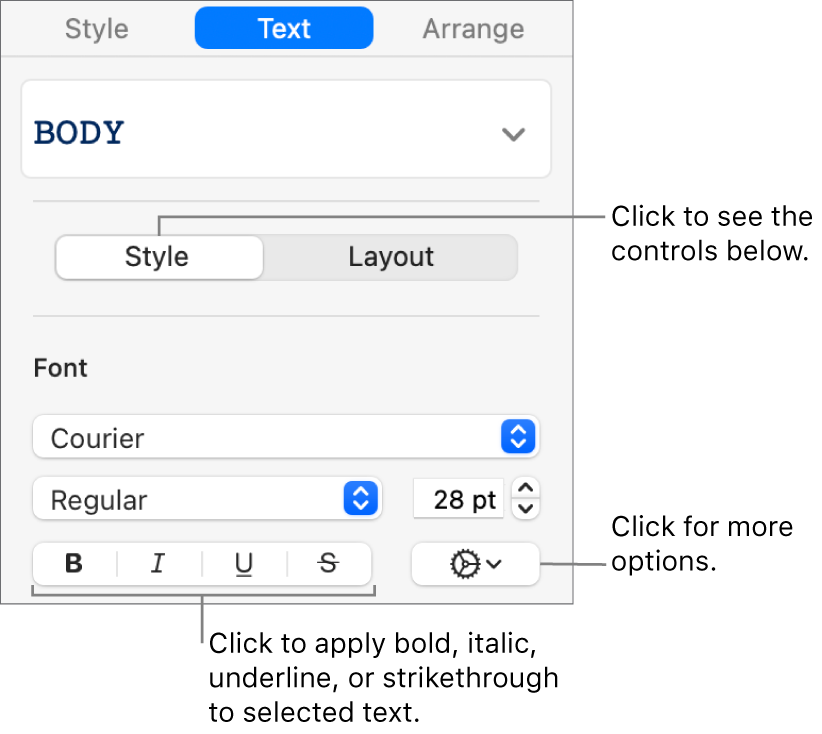 The Style controls in the sidebar with callouts to the Bold, Italic, Underline, and Strikethrough buttons.