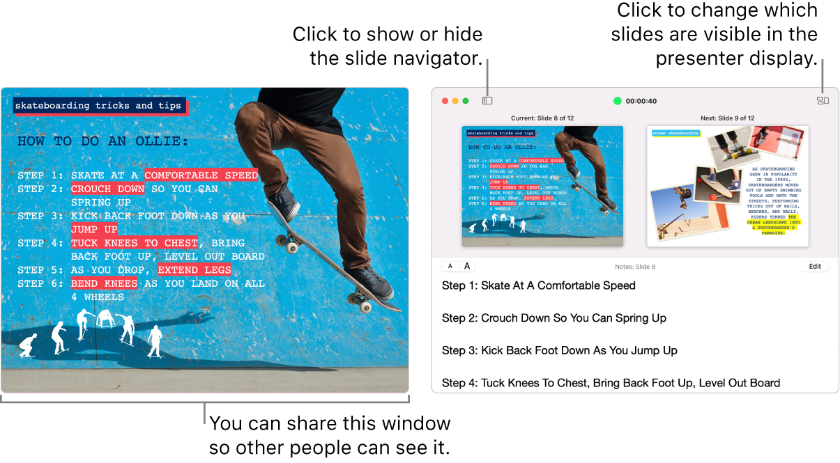A Keynote presentation displayed in a window, with the presenter display in a second window containing the slide navigator, presenter notes, and slide preview.