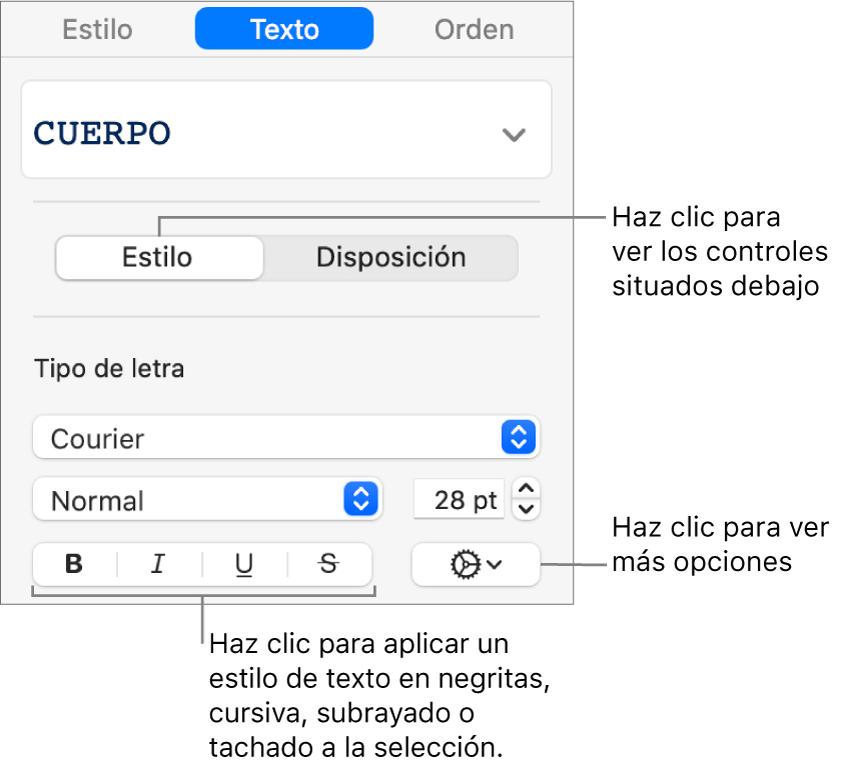 Los controles de estilo de la barra lateral con texto que indica los botones Negrita, Cursiva, Subrayado y Tachado.