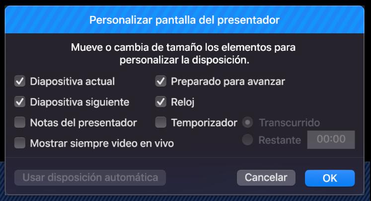 """Cuadro de diálogo """"Personalizar pantalla del presentador""""."""