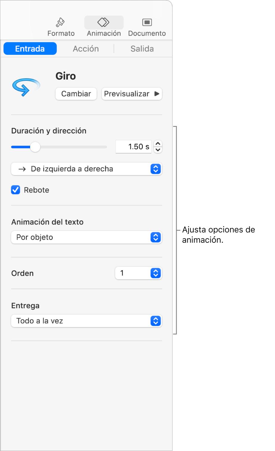 Opciones de Entrada en la sección Animación de la barra lateral.
