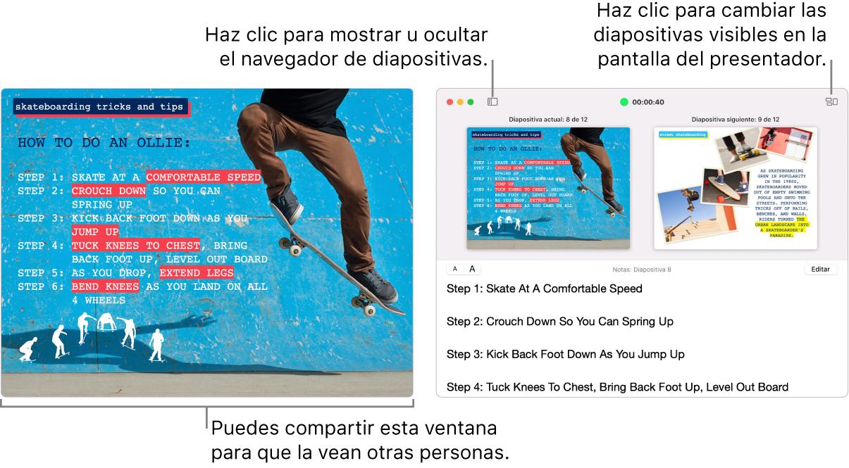 Se muestra una presentación de Keynote en una ventana, con la pantalla del presentador en una segunda ventana con el navegador de diapositivas, las notas del presentador y la vista previa de la diapositiva.