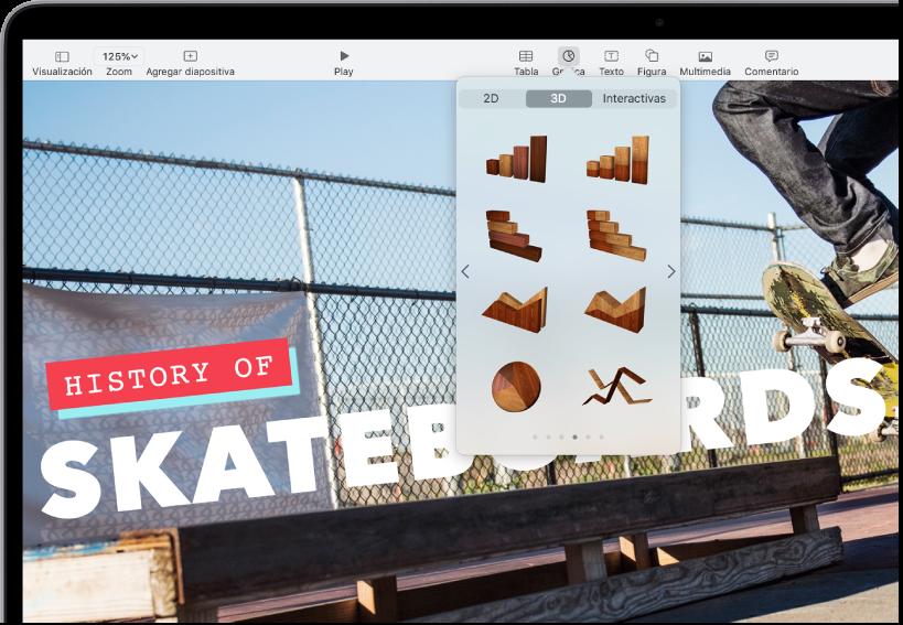 La barra de herramientas con botones para agregar tablas, gráficas, cuadros de texto, figuras y contenido multimedia. Se selecciona la opción Gráfica y muestra botones para gráficas 2D, 3D e Interactivas. Se elige 3D y aparecen opciones de gráficas debajo.