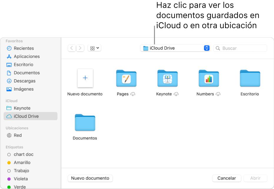 """El cuadro de diálogo Abrir con la barra lateral abierta a la izquierda y iCloud Drive seleccionado en el menú desplegable en la parte superior. En el cuadro de diálogo aparecen carpetas para Keynote, Numbers y Pages, junto con un botón """"Nuevo documento""""."""