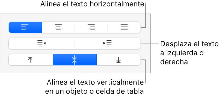 Sección Alineación del botón de formato con llamadas a los botones de alineación de texto.