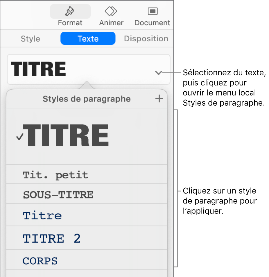 Le menu «Styles de paragraphe» avec une coche en regard du style sélectionné.