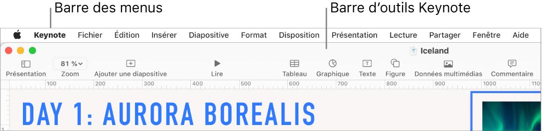 La barre des menus en haut de l'écran avec les menusPomme, Keynote, Fichier, Édition, Insertion, Format, Disposition, Présentation, Partager, Fenêtre et Aide. Sous la barre des menus, une présentation Keynote est ouverte avec une barre d'outils supérieure proposant les boutonsPrésentation, Zoom, Ajouter une Diapo, Lecture, KeynoteLive, Tableau, Graphique, Texte, Figure, Données multimédias et Commentaire.