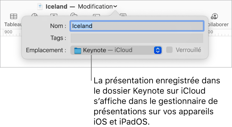 Zone de dialogue d'enregistrement d'une présentation avec Keynote (iCloud dans le menu local Emplacement).