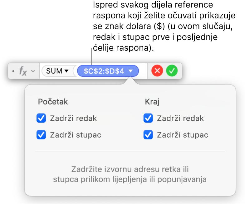 Formula s prikazom sačuvanih referenci redaka i stupaca.