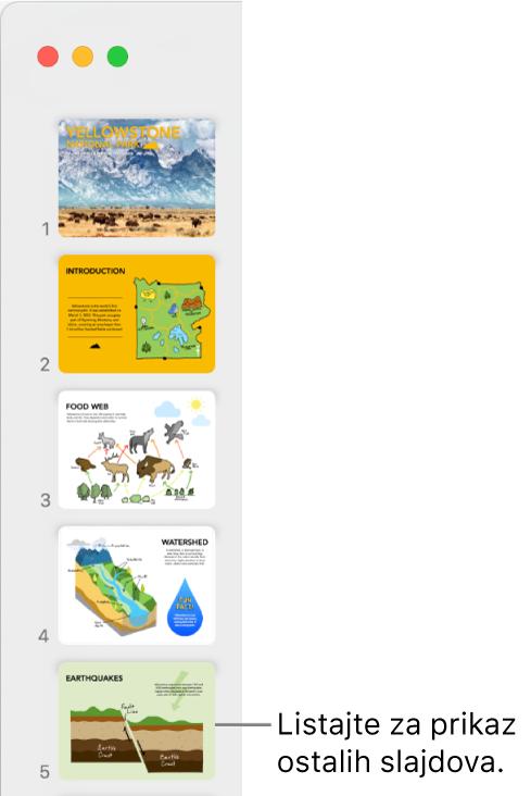 Navigator slajdova s prikazom pet slajdova okomito koji slijede jedan iza drugog, s opcijom za listanje prema dolje radi prikaza više slajdova.