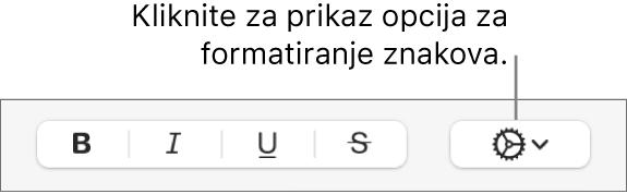 Tipka Napredne opcije pokraj tipaka Podebljano, Kurziv i Podcrtano.