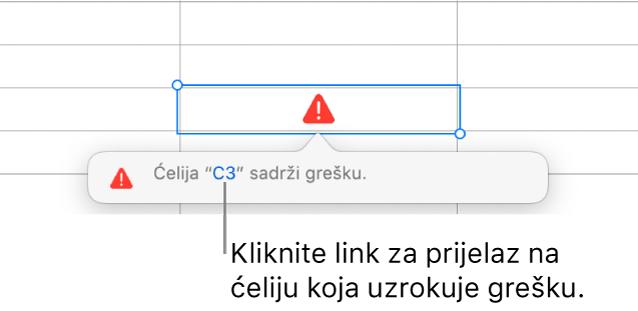 Link na pogrešku ćelije.