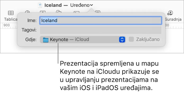 Dijaloški okvir za spremanje za prezentaciju s Keynote—iCloud u skočnom izborniku Gdje.