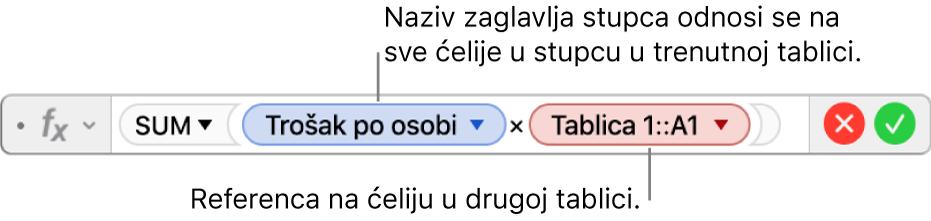 Urednik formula s prikazom formule koja se odnosi na stupac u jednoj tablici i ćeliju u drugoj tablici.