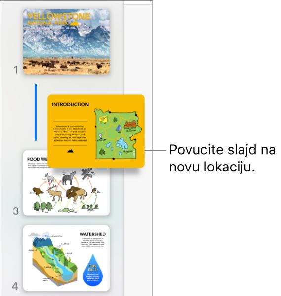 Navigator slajdova prikazuje minijaturu premještenog slajda s linijom na lijevoj strani.