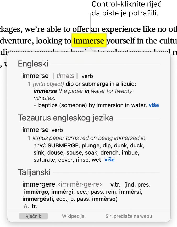 Tekst s istaknutom riječi i prozor koji pokazuje njenu definiciju i unos tezaurusa. Dvije tipke na dnu prozora pružaju poveznice na rječnik i Wikipediju.