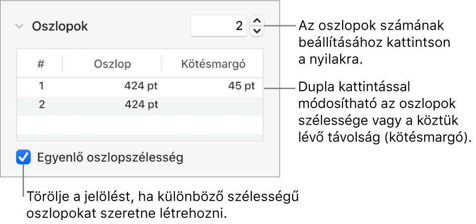 Vezérlők az oszlop szakaszban a hasábok számának és az egyes hasábok szélességének módosításához.