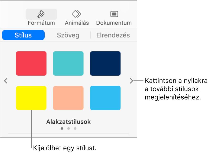 A Formátum oldalsáv Stílus lapja hat objektumstílussal és navigációs nyilakkal a bal és a jobb oldalon.