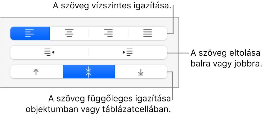 Az oldalsáv Igazítás szakasza a szöveg vízszintes és függőleges igazítására, illetve balra vagy jobbra mozgatására szolgáló gombokkal.