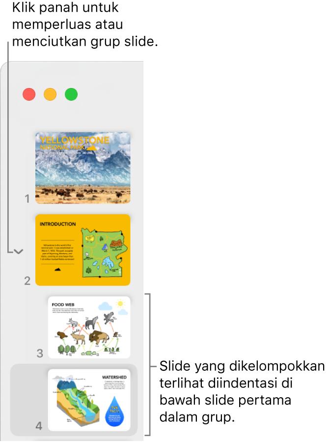 Navigator slide menunjukkan slide yang diindentasi.