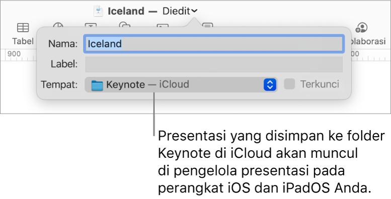 Dialog Simpan untuk presentasi dengan Keynote—iCloud di menu pop-up Tempat.