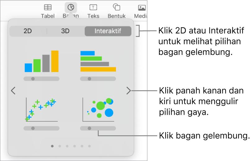 Menu tambah bagan menampilkan bagan interaktif, termasuk pilihan bagan gelembung.