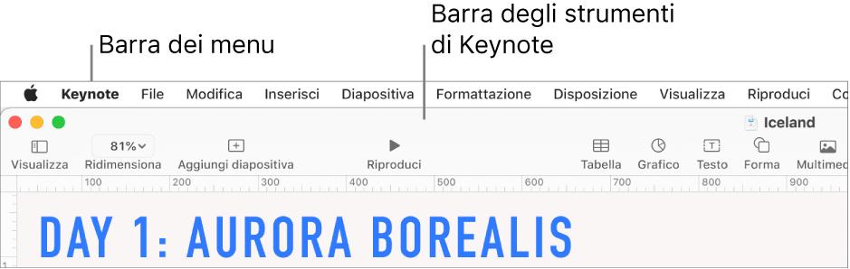 Barra dei menu nella parte superiore dello schermo con i menu Apple, Keynote, File, Modifica, Inserisci, Formato, Disposizione, Visualizza, Finestra e Aiuto. Sotto la barra dei menu si trova una presentazione di Keynote aperta con i pulsanti della barra degli strumenti nella parte superiore Visualizza, Ridimensiona, Aggiungi cursore, Riproduci, Keynote Live, Tabella, Grafico, Testo, Forma, Multimedia e Commento.