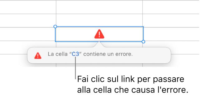 Link all'errore di una cella.