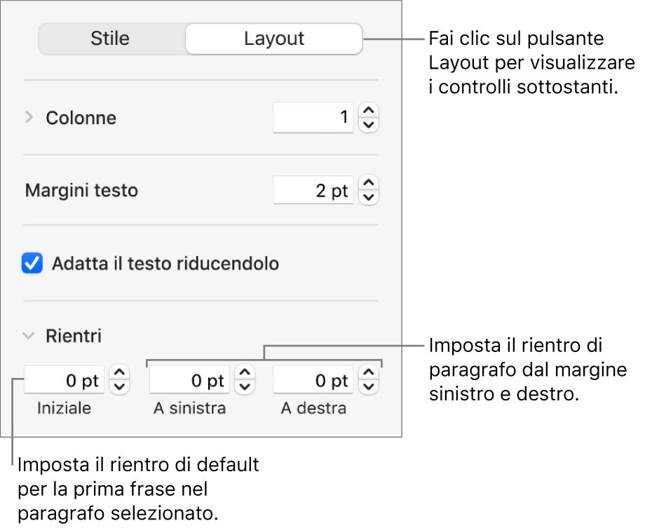 Sezione Layout della barra laterale Formattazione con i controlli per impostare il rientro della prima riga e i margini dei paragrafi.