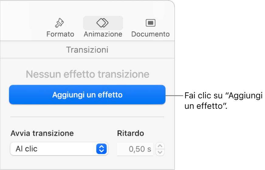 """Pulsante """"Aggiungi un effetto"""" nella sezione Animazione della barra laterale."""