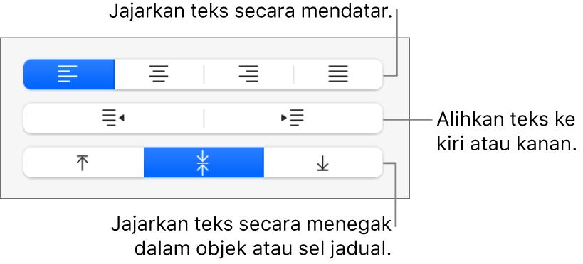 Bahagian Penjajaran pada bar sisi menunjukkan butang untuk menjajarkan teks secara mendatar, mengalihkan teks ke sebelah kiri atau kanan dan menjajarkan teks secara menegak.