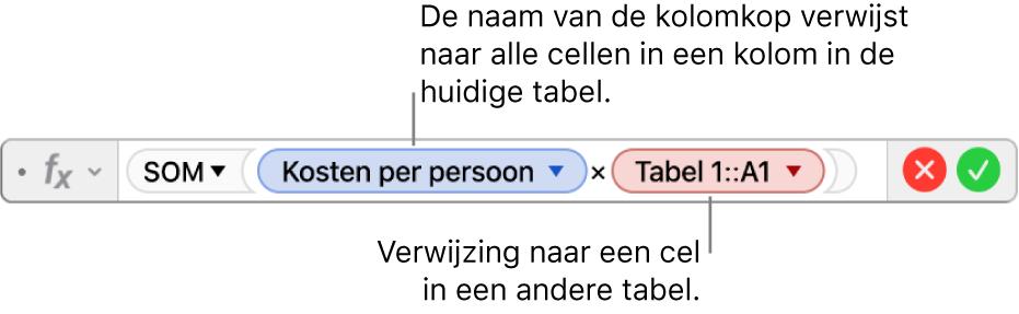 De formule-editor met een formule die verwijst naar een kolom in de ene tabel en een cel in een andere tabel.